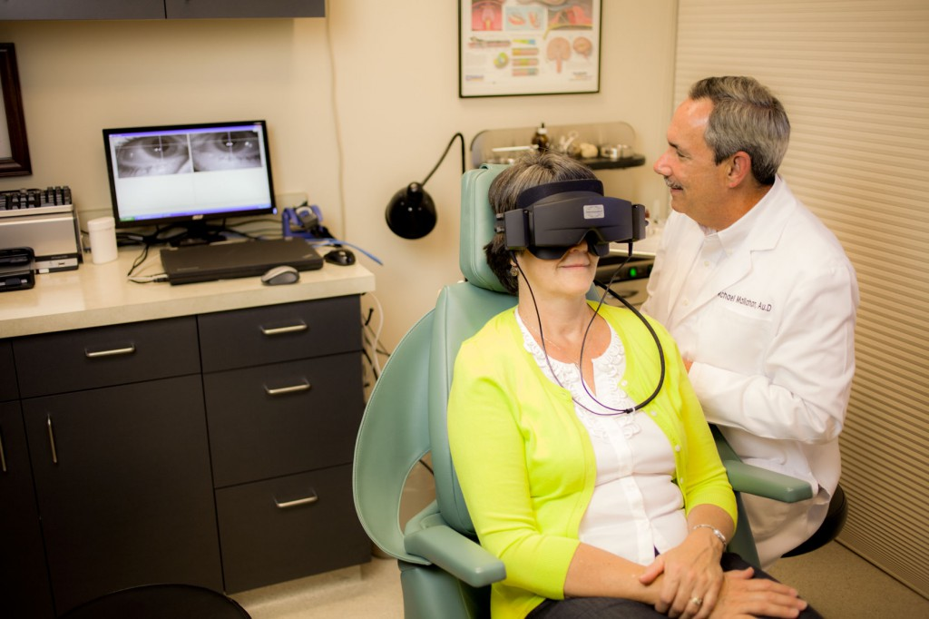 Dr. Mallahan conducts videonystagmography (VNG) to help diagnose possible inner ear disorders.